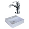 American Imaginations 18-in. W x 18-in. D Square Vessel Set In White Color With Single Hole CUPC Faucet