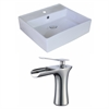 18-in. W x 18-in. D Square Vessel Set In White Color With Single Hole CUPC Faucet