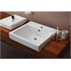 20.5-in. W x 18.5-in. D Semi-Recessed Rectangle Vessel In White Color For Single Hole Faucet