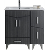 American Imaginations 36-in. W x 17-in. D Modern Plywood-Melamine Vanity Base Set Only In Dawn Grey