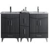 American Imaginations 60-in. W x 17-in. D Modern Plywood-Melamine Vanity Base Set Only In Dawn Grey