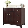 36-in. W x 22-in. D Birch Wood-Veneer Vanity Set In Coffee
