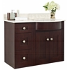 American Imaginations 36-in. W x 22-in. D Transitional Wall Mount Birch Wood-Veneer Vanity Base Set Only In Coffee