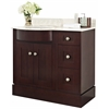 American Imaginations 36-in. W x 22-in. D Transitional Birch Wood-Veneer Vanity Base Set Only In Coffee
