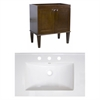 American Imaginations Birch Wood-Veneer Vanity Set In Antique Walnut