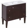 Birch Wood-Veneer Vanity Set In Antique Walnut