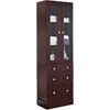 26-in. W x 82-in. H Transitional Birch Wood-Veneer Linen Tower In Coffee