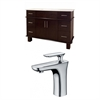 American Imaginations 48-in. W x 18-in. D Birch Wood-Veneer Vanity Set In Walnut With Single Hole CUPC Faucet
