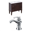 American Imaginations Birch Wood-Veneer Vanity Set In Antique Walnut With Single Hole CUPC Faucet