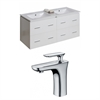 American Imaginations 48-in. W x 18-in. D Plywood-Veneer Vanity Set In White With Single Hole CUPC Faucet