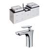 American Imaginations 62-in. W x 18.5-in. D Plywood-Veneer Vanity Set In White With Single Hole CUPC Faucet