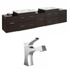American Imaginations 90-in. W x 18-in. D Plywood-Melamine Vanity Set In Dawn Grey With Single Hole CUPC Faucet