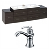 American Imaginations 76-in. W x 18.5-in. D Plywood-Melamine Vanity Set In Dawn Grey With Single Hole CUPC Faucet