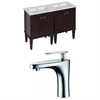 Birch Wood-Veneer Vanity Set In Antique Walnut With Single Hole CUPC Faucet