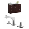 48-in. W x 22-in. D Birch Wood-Veneer Vanity Set In Coffee With 8-in. o.c. CUPC Faucet