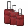 Three Piece Eexpandable Luggage Set, Red