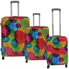 Lightweight ABS with printed PC film exterior Three Piece Luggage Set, Circle print
