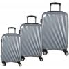 Lightweight 100 % Polycarbonate exterior Three Piece Luggage Set, Silver