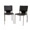Dark Brown Leather Dining Chair with Chrome Frame