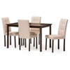 Andrew Modern and Contemporary 5-Piece Beige Fabric Upholstered Grid-tufting Dining Set Dark Brown/Beige