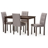Andrew Modern and Contemporary 5-Piece Grey Fabric Upholstered Grid-tufting Dining Set Dark Brown/Grey