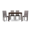 Andrew Contemporary Espresso Wood Grey Fabric 5PC Dining Set Dark Brown/Grey