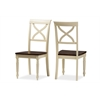 """Ashton Modern Country Cottage Buttermilk and """"Walnut"""" Brown Finishing Wood Dining Chair Cream/""""Walnut' Brown"""