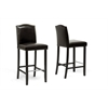 Libra Dark Brown Modern Bar Stool with Nail Head Trim