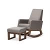 Yashiya Mid-century Retro Modern Grey Fabric Upholstered Rocking Chair and Ottoman Set