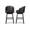 Avril Modern and Contemporary Black Faux Leather Tufted Swivel Barstool with Nail heads Trim
