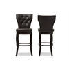 Leonice Modern and Contemporary Dark Brown Faux Leather Upholstered Button-tufted 29-Inch Swivel Bar Stool