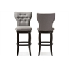 Leonice Modern and Contemporary Grey Fabric Upholstered Button-tufted 29-Inch Swivel Bar Stool