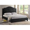Marsha Scalloped Black Modern Bed with Upholstered Headboard - King Size