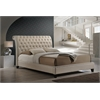 Jazmin Tufted Light Beige Modern Bed with Upholstered Headboard - Queen Size
