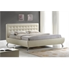 Elizabeth Pearlized Almond Modern Bed with Upholstered Headboard - King Size