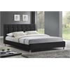 Vino Black Modern Bed with Upholstered Headboard - Full Size