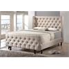 Francesca Beige Linen Modern Platform King Size Bed with Bench Light Beige