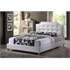 Carlotta White Modern Bed with Upholstered Headboard - Full Size