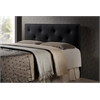Dalini Modern and Contemporary Full Black Faux Leather Headboard with Faux Crystal Buttons