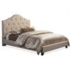 Anica Scalloped Beige Fabric Modern Queen Size Platform Bed