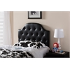 Morris Modern and Contemporary Black Faux Leather Upholstered Button-Tufted Scalloped Twin Size Headboard