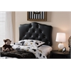 Rita Modern and Contemporary Black Faux Leather Upholstered Button-Tufted Scalloped Twin Size Headboard