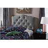 Rita Modern and Contemporary Grey Fabric Upholstered Button-Tufted Scalloped Twin Size Headboard