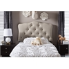 Rita Modern and Contemporary Light Beige Fabric Upholstered Button-Tufted Scalloped Twin Size Headboard