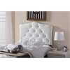 Rita Modern and Contemporary White Faux Leather Upholstered Button-Tufted Scalloped Twin Size Headboard