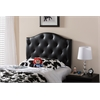 Myra Modern and Contemporary Black Faux Leather Upholstered Button-Tufted Scalloped Twin Size Headboard