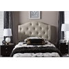 Myra Modern and Contemporary Light Beige Fabric Upholstered Button-Tufted Scalloped Twin Size Headboard