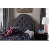 Cora Modern and Contemporary Dark Grey Fabric Upholstered Twin Size Headboard