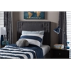 Geneva Modern and Contemporary Dark Grey Fabric Upholstered Twin Size Headboard