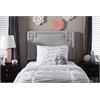 Geneva Modern and Contemporary Grayish Beige Fabric Upholstered Twin Size Headboard Greyish Beige
